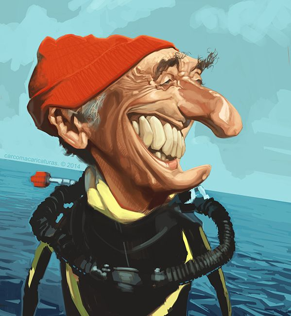 Jacques Costeau caricature #costeau #caricatura #caricature       For more great pins go to @KaseyBelleFox                                                                                                                                                     Más