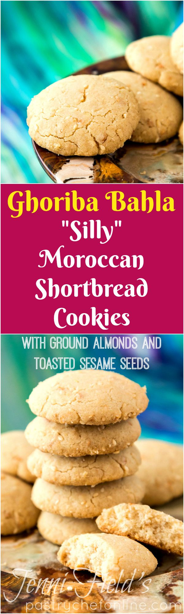 """Ghoriba Bahla are Moroccan shortbread cookies with cracks in their tops. The name ghoriba bahla translates to """"silly stranger,"""" but there is nothing silly or strange about these crunchy, crumbly, lightly sweet shortbread cookies flavored with toasted sesame and ground almonds. The perfect cookie recipe to make to serve alongside tea or coffee. Enjoy! 
