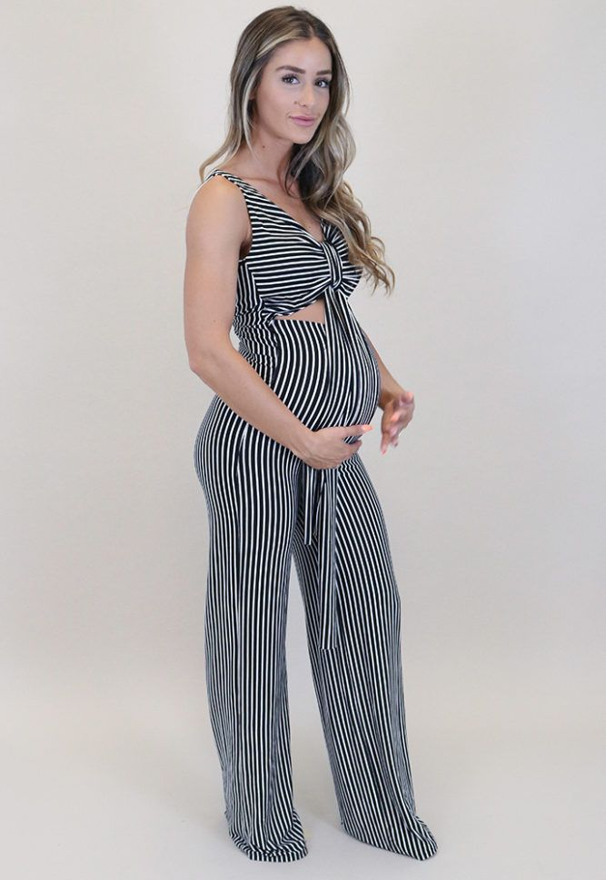 b36e8524cdb7b Striped Maternity Jumpsuit - Sexy Mama Maternity The Sexy Mama striped maternity  jumpsuit is here to