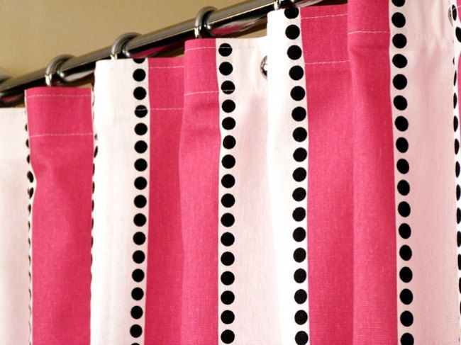 Items Similar To Pink Shower Curtain With Candy White Stripes And Cascading Black Dots Sized X