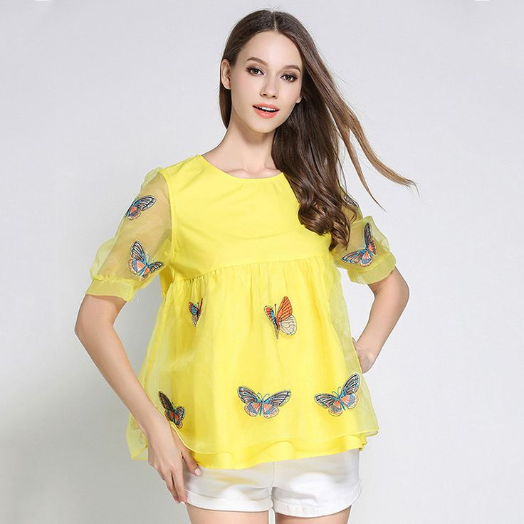 New Fashion Summer Yellow Women Bottom Shirt Loose Sleeves Cover Belly Chiffon Shirt Women Embroidery Lace Three Quarter Tops #Affiliate