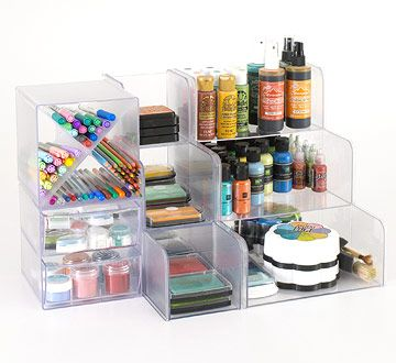 Modular storage is a crafter's dream because it allows for rearranging of work space to meet current needs. These inexpensive modules come in various shapes and designs to custom-fit tools. The X-cube is perfect for sorting pens, pencils, and markers, while stackable units hold pigment inks and dye-base ink pads./