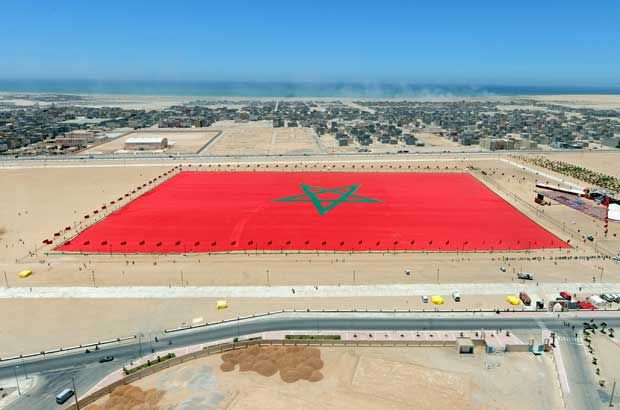 Biggest flag on the world .Morocco flag in Dakhla, Western Sahara.
