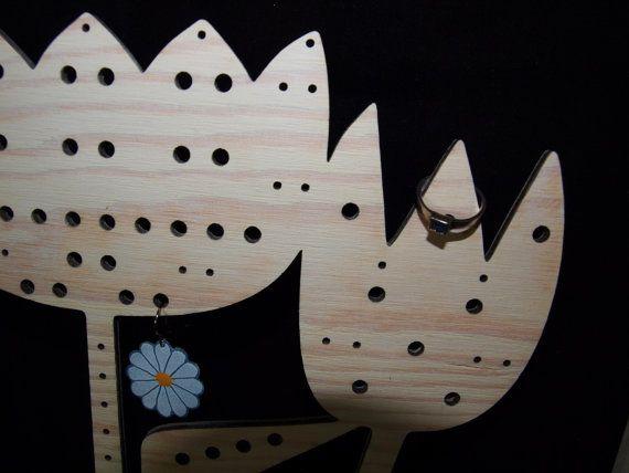 Jewelry display Jewelry holder Tulip flower wooden by CinkyLinky