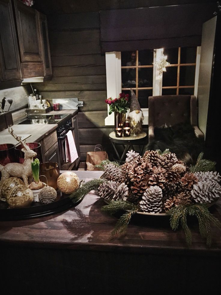 Kitchen ~ ready for xmas dark log walls