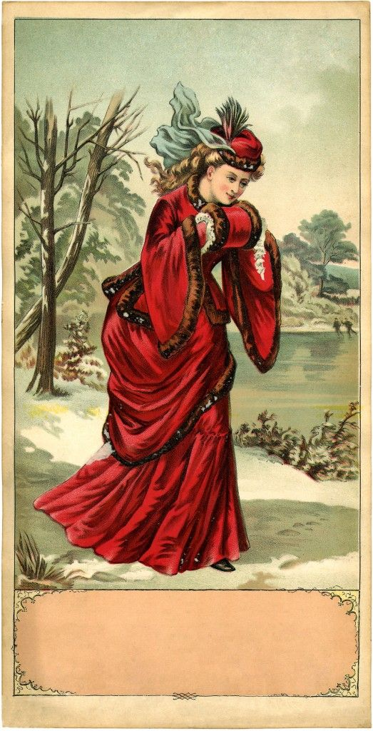 Victorian Winter Lady Image | The Graphics Fairy