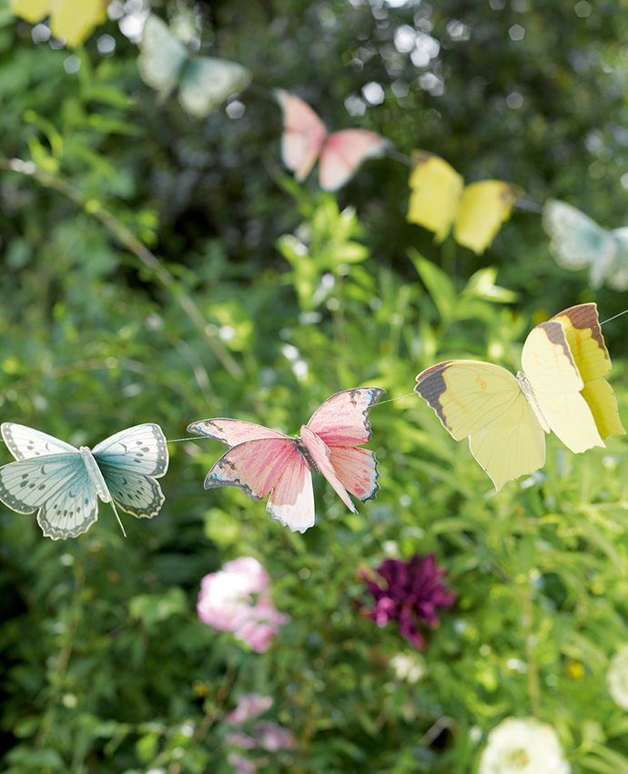This butterfly bunting would look lovely at an outdoor tea party or picnic. It comes from the beautiful range of fairy themed party decorations in our Truly Fairy party range.