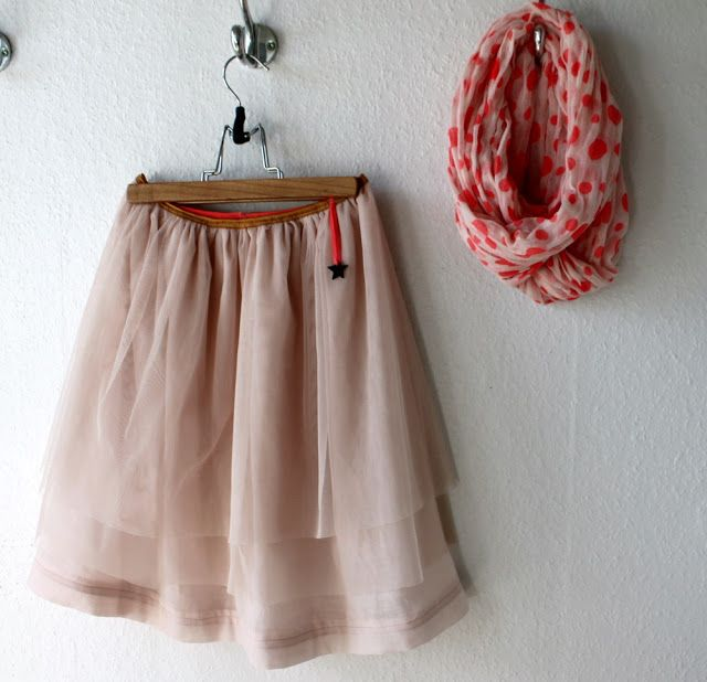 Layered Tulle Skirt With Foldover Elastic Waistband