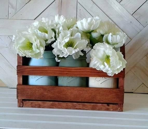 Small Wooden Crate Ideas Free Shipping Painted Mason Jars Small Wood Crates Table Like This Item Pa Small Wooden Crates Painted Mason Jars Wooden Crates Crafts
