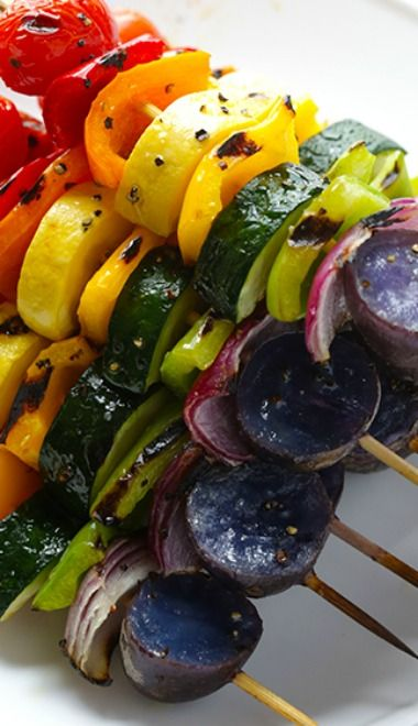 Rainbow Veggie Skewers (just put these over some rice and you have a beautiful, tasty meal....jk)