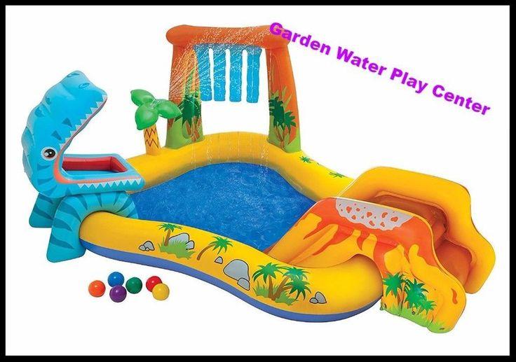 Garden Play Center Inflatable Kids Pool Outdoor Fun Dinosaur W Sprayer Waterfall