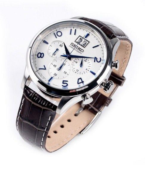 Montre Homme Seiko SPC155P1, boîtier acier et bracelet en cuir, cadran blanc, fonction chronographe et date.