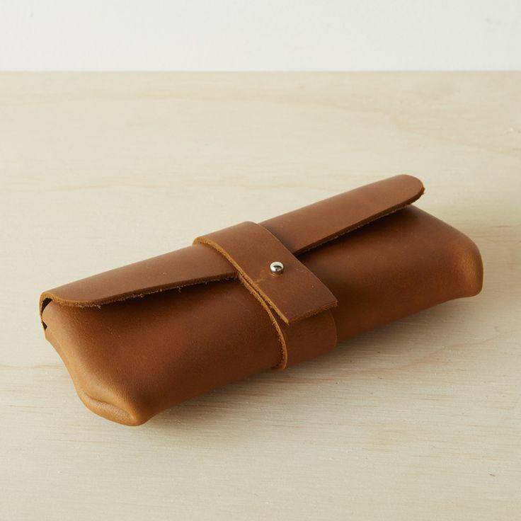 Rolled Leather Eyewear Case - Tan