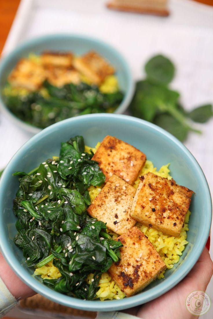 Simple Spinach Tofu With Turmeric Rice – Jocelyn Payne