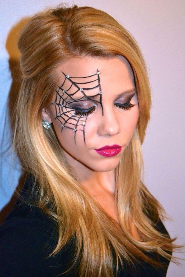 1001 Exemples De Maquillage Toile D Araignee Facile Et Rapide Maquillage Araignee Maquillage Idees De Maquillage Halloween