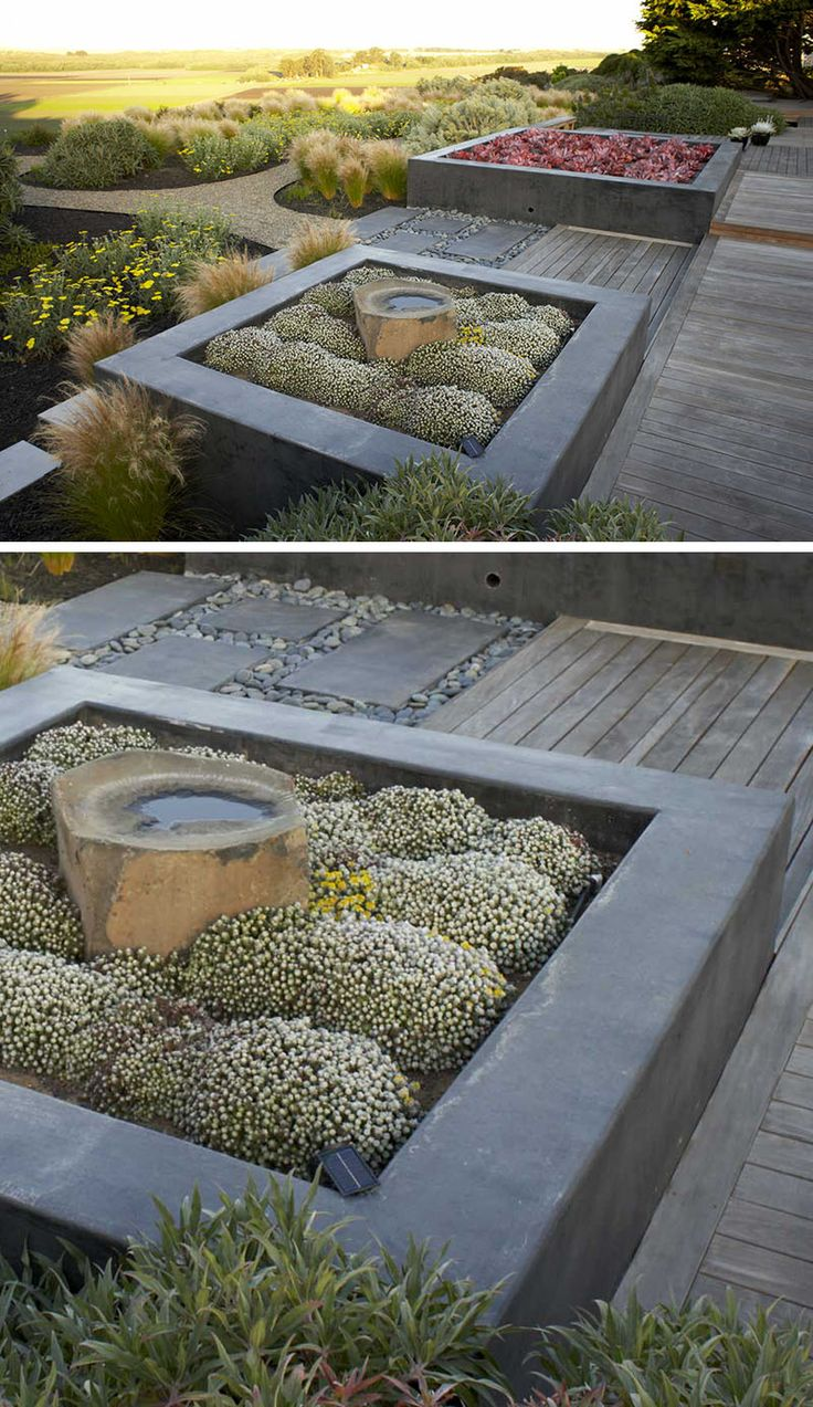 10 Excellent Examples Of Built-In Concrete Planters // Custom concrete planters were designed for this garden, and the designers have paired them with Ipe decking to create a contemporary look.