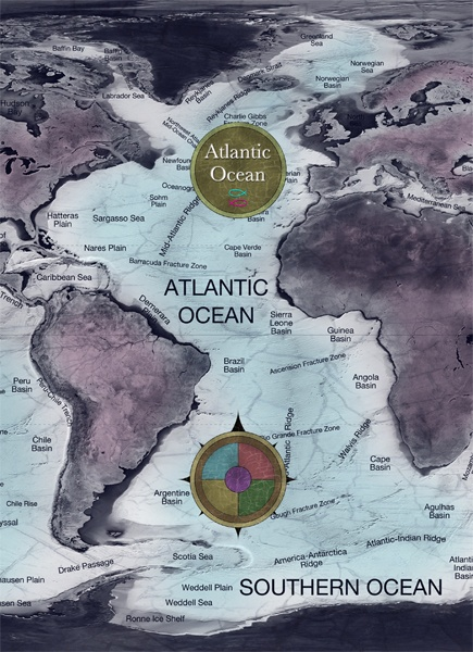 Atlantic Ocean, map cover: Maps Covers, Buckets Lists, Atlantic Ocean, Boys Rooms, Apartment Inspiration, Originals Work, Cruises South, Ocean Maps, Country Boards