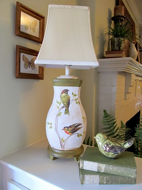 Gorgeous decoupage lamp for a truly old dated old lamp. Look at it now!