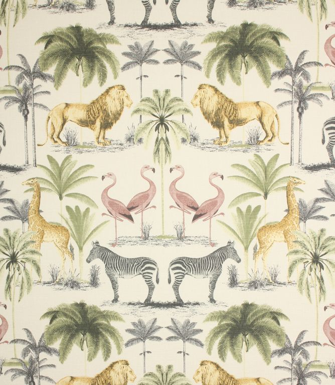 Longleat fabric is a fantastic modern fabric with its bang on trend design depicting safari animals and palm trees. Great for a colonial scheme when used for accessories, curtains, blinds, upholstery and cushions. Has a lovely soft feel to it. Buy online or from one of our extensive fabric shops in Burford and Cheltenham.