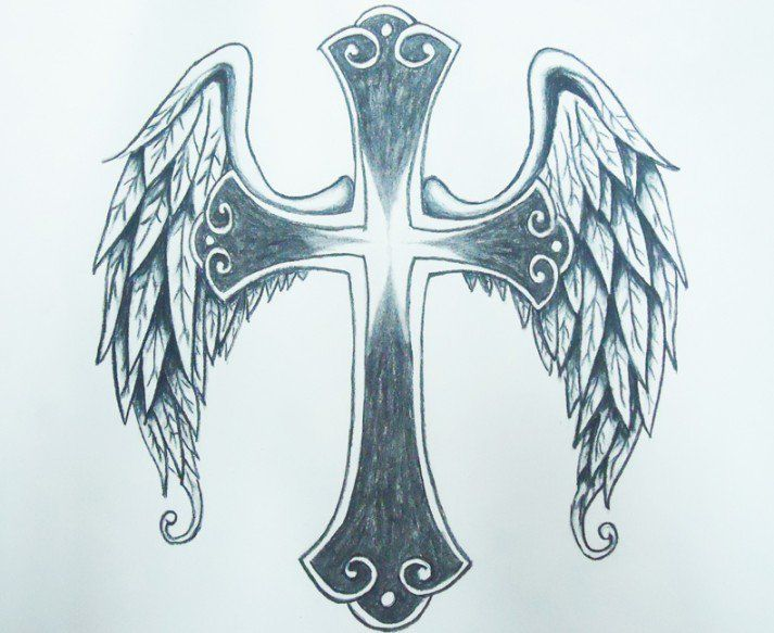 Cross With Angel Wings Tattoo: Pin On I Want