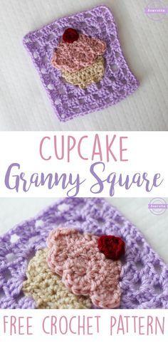 Cupcake Granny Square   Free Crochet Pattern from Sewrella