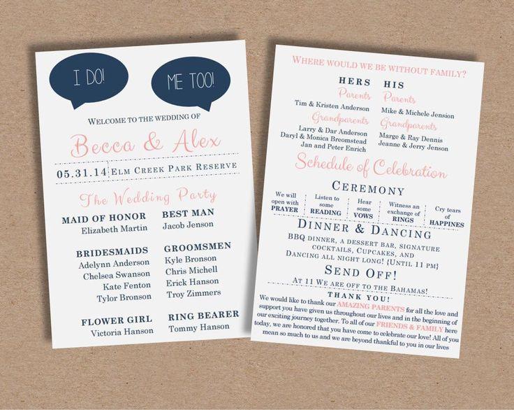 wedding program i dofunny wedding program by missbeccasboutique on etsy https