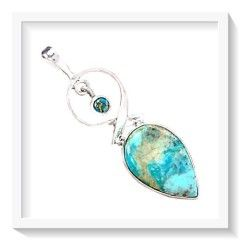 ***ENCHANTING*** NATURAL SLEEPING BEAUTY / COPPER TURQUOISE SOLID .925 STERLING SILVER PENDANT