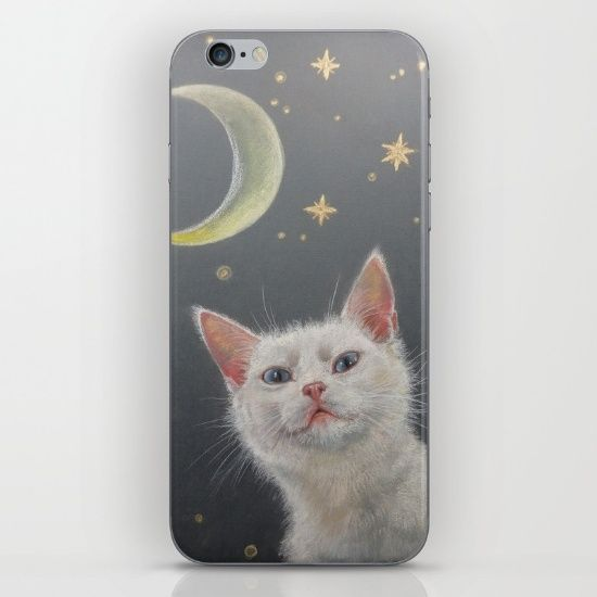 Night cat and moon iPhone & iPod Skin . White cat on the night background, pastel drawing by CanisArtStudio #cat #night #illustration #iPhone #iPad #canisartstudio