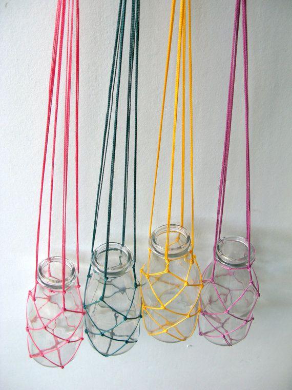 Four Small fishing net and macrame plant hanger with glass bottle - flower hanger- custom colour combo