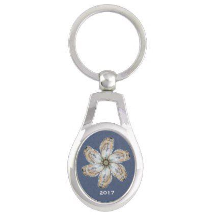#flower - #Oyster Flower Keychain - Design A Dark Blue