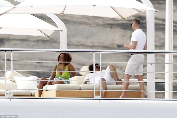 Oprah Winfrey was pictured relaxing on the Rising Sun, owned by Hollywood mogul David Geff...