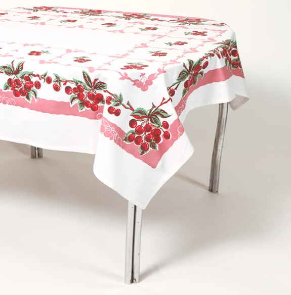 A Marvelously Cute Vintage Cherry Tablecloth.