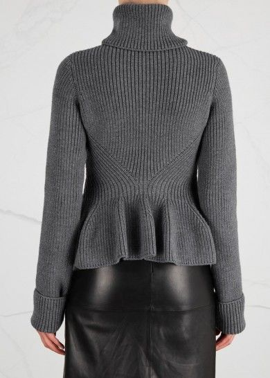 Alexander McQueen grey chunky-knit wool cardigan Ribbed, high roll neck, extra long sleeves with turn-up cuffs, peplum hem Zip fastening through front 100% wool