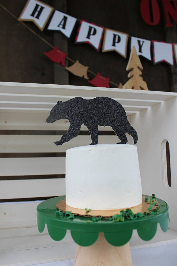 Glitter Bear Cake Topper Forest Party Decoration Camping. One Happy Camper Party. Mountain Bear Party Theme. Camping Party Theme. Black Bear Party Theme. Black Bear Party Decorations.