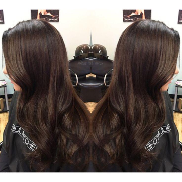 Chocolate espresso brown hair , subtle caramel highlights , curls // dimension // more styles on Instagram // @samcheevs