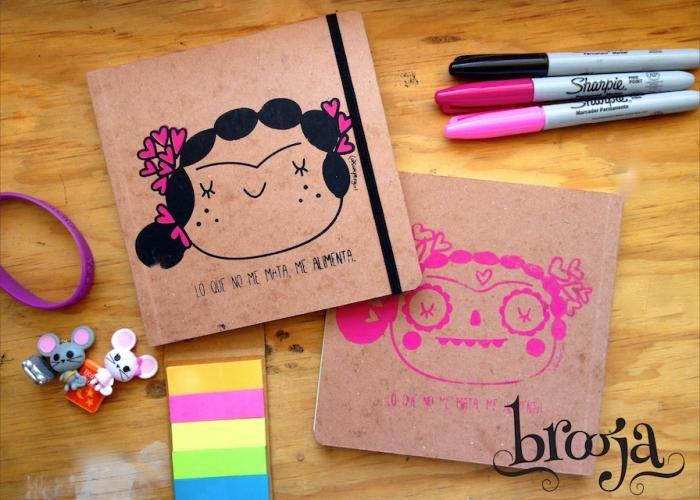 .:Catrina Suupergirl:. Formato 15x15cm, Papel bond ahuesado 90 gr Pasta blanda papel kraft, tamaño pasaporte.  Adquiere los tuyos en https://www.kichink.com/stores/brooja #brooja #sketchbook #notebook #kraft #libreta #cuaderno #illustration #ilustración #sharpie #handmade #onlineshopping #kichink #mexico #suupergirl