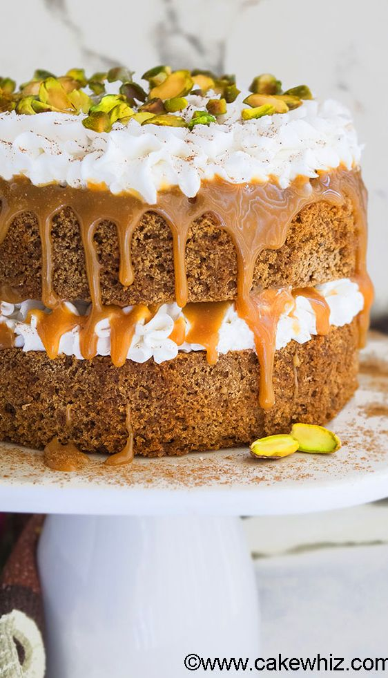 This easy CHAI TEA SPICE CAKE with buttercream frosting, caramel sauce ...