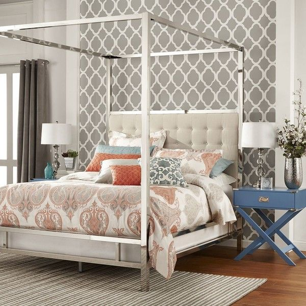 HomeVance Barton Hills Canopy Bed, White ($1,072) ❤ Liked On Polyvore  Featuring Home
