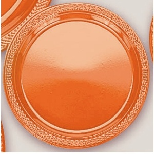 "Plastic Orange Peel Dinner Plates. Plastic 10.25"" Dinner Plates Solid ColoursThere are 20 Plastic Dinner Plates per package. They are a LARGE 10.25 inches and come in 22 colours to suit any theme or event. This is a great item if you require a large plate that is stronger than paper."