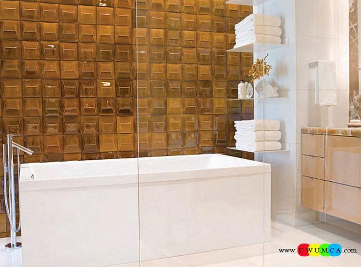 Bathroom:Decorating Modern Summer Bathroom Decor Style Tropical Bath Tubs Ideas Contemporary Bathrooms Interior Minimalist Design Decoration Plans Crisp Accessories In A Bathroom With Amber Toned Tile Cool and Cozy Summer Bathroom Style : Modern Seasonal Decor Ideas