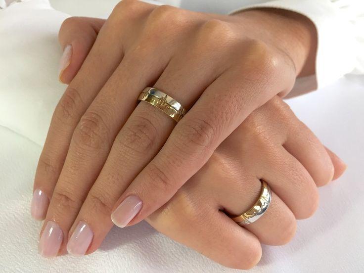 Par de Alianças Batimento Cardíaco ♥ Casamento e Noivado em Ouro 18K - Reisman
