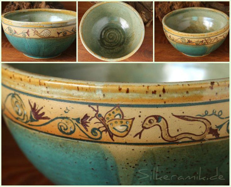 Keramik-Schale mit Blumenranke und Gartentieren - Ø 18,5 cm