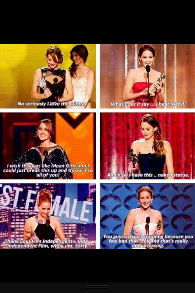 """""""What does it say…I beat Meryl!"""" Jennifer Lawrence quoting First Wives Club (one of the best movies ever!!!)"""