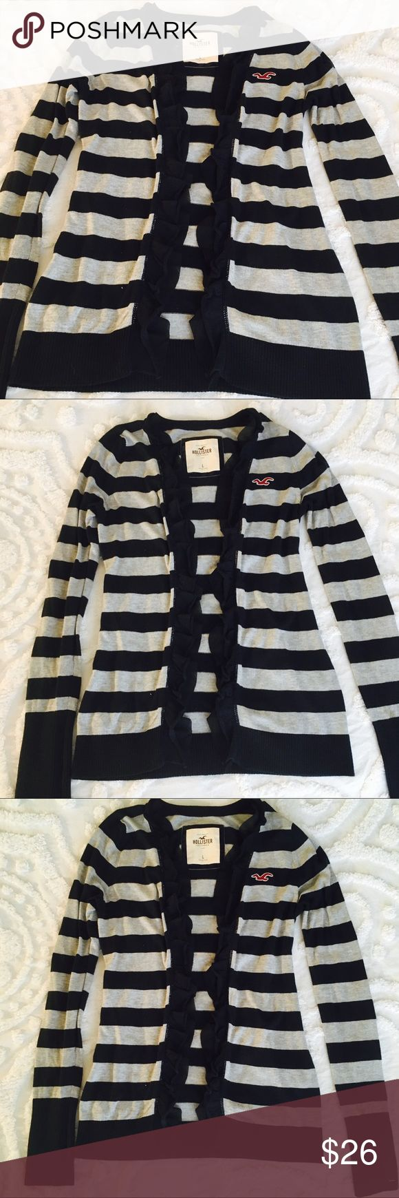Hollister Ruffle Open Cardigan Super cute navy blue and gray rugby striped Ruffle trim sweater in excellent used condition Hollister Sweaters Cardigans