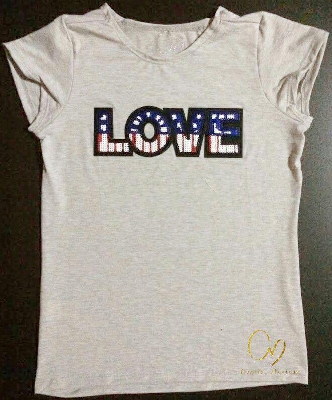 T-Shirt en algodón pima 100%, aplique en lentejuelas Colores de camiseta en negro, gris y blanco