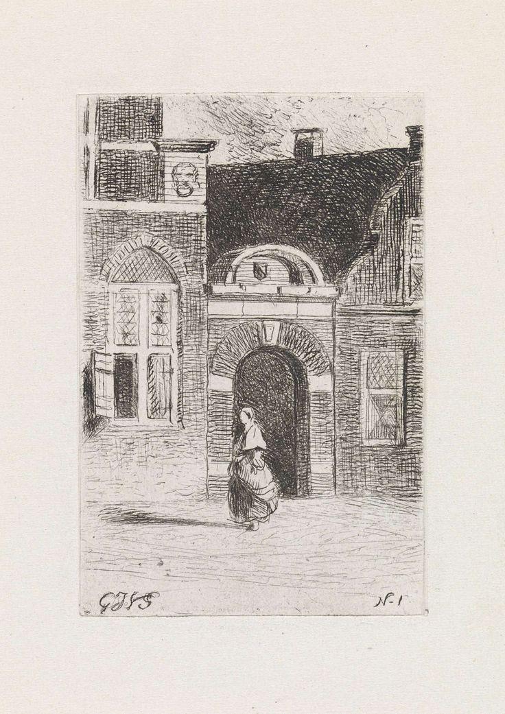 Gijsbertus Johannes Verspuy | Bakstenen poort in een straat, Gijsbertus Johannes Verspuy, 1833 - 1862 | Gezicht op een bakstenen poort tussen huizen. Op straat loopt een vouwenfiguur. rechtsonder N.1.