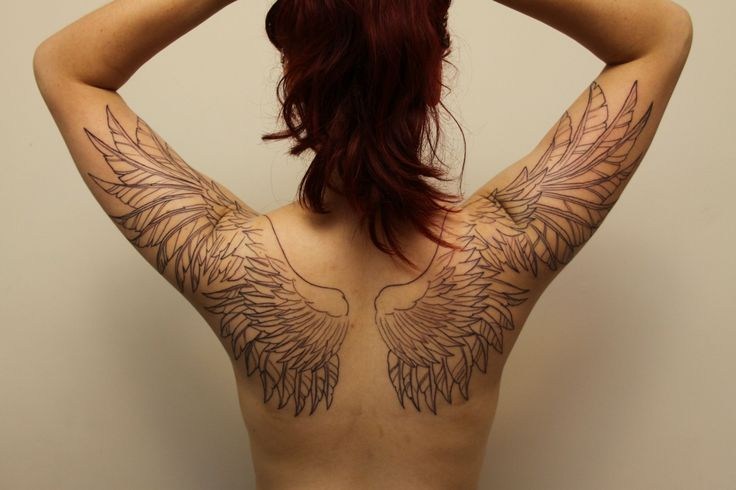 Girlfriends wing tattoo - outline was finished yesterday with two shading sessions to go. [Cole @ D&C - Dubbo Australia]
