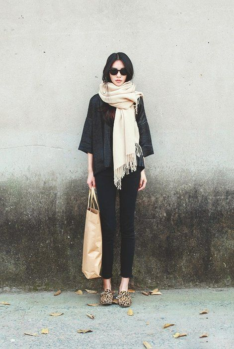 A plain scarf- so simple but so perfect for tying an outfit together