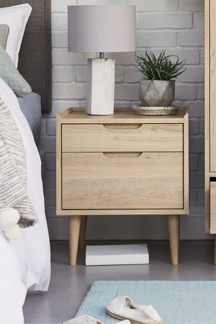 Next Stockholm 2 Drawer Bedside Table - Natural | Oak ...