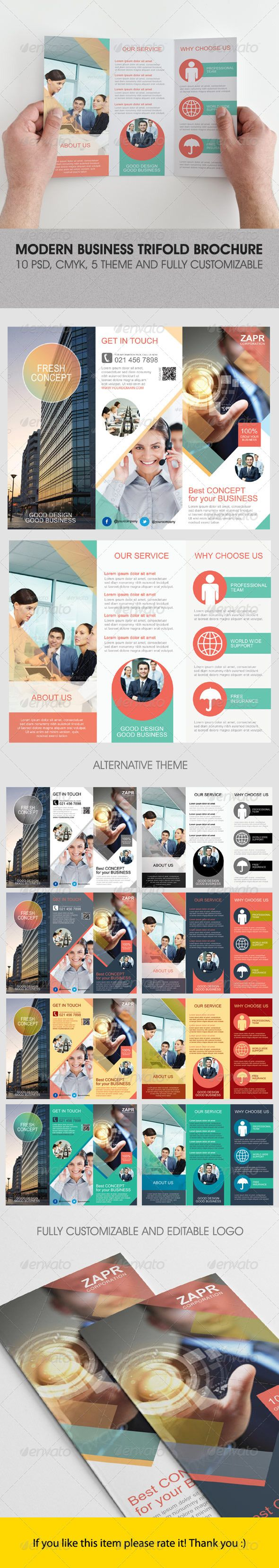 Modern Business Trifold Brochure #GraphicRiver Modern Business Trifold Brochure An elegant, professional, simple and ultra-clean layout for your Brochure.